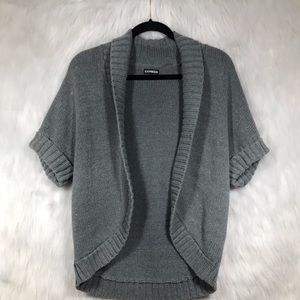Express Gray Short Sleeve Open Knit Cardigan
